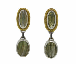 Double Labradorite Articulated Drop Earrings