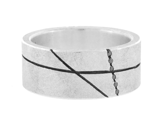 Thick Silver Band with Black Diamonds