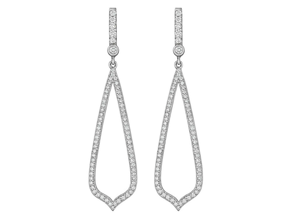 White Gold Teardrop Diamond Earrings