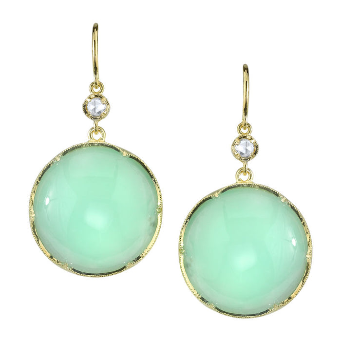 Mint Chrysoprase And Diamond Earrings