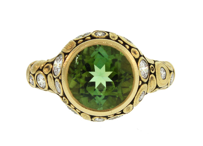 GREEN TOURMALINE AND DIAMOND 'CIRCLE' RING