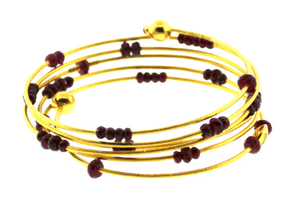 Gold Ruby Five Strand Spring Bracelet