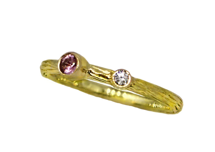 Pink Sapphire and Diamond Pebble Ring