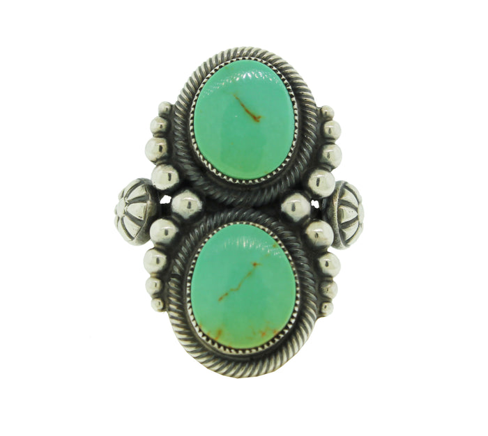 Vintage Turquoise Oval Beaded Ring