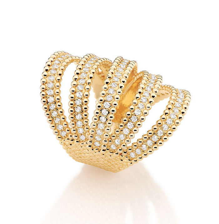 Gold and Diamond Fountain Ring
