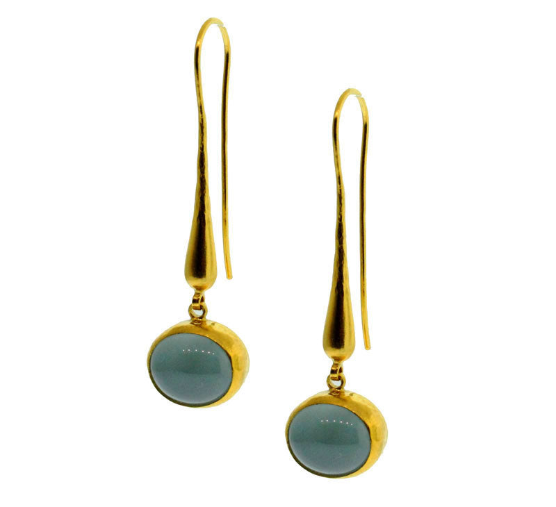 Cabochon Aquamarine Earrings