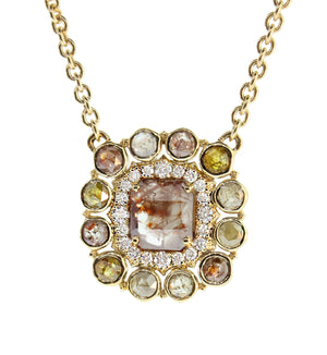 Mixed Shapes Diamond Cluster Pendant