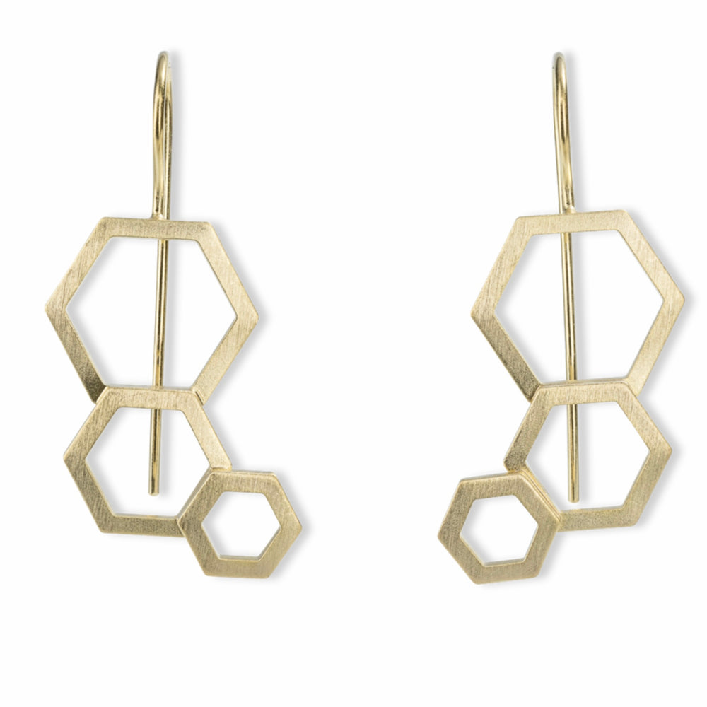 Bee Mine Three Open Hexagon Earrings