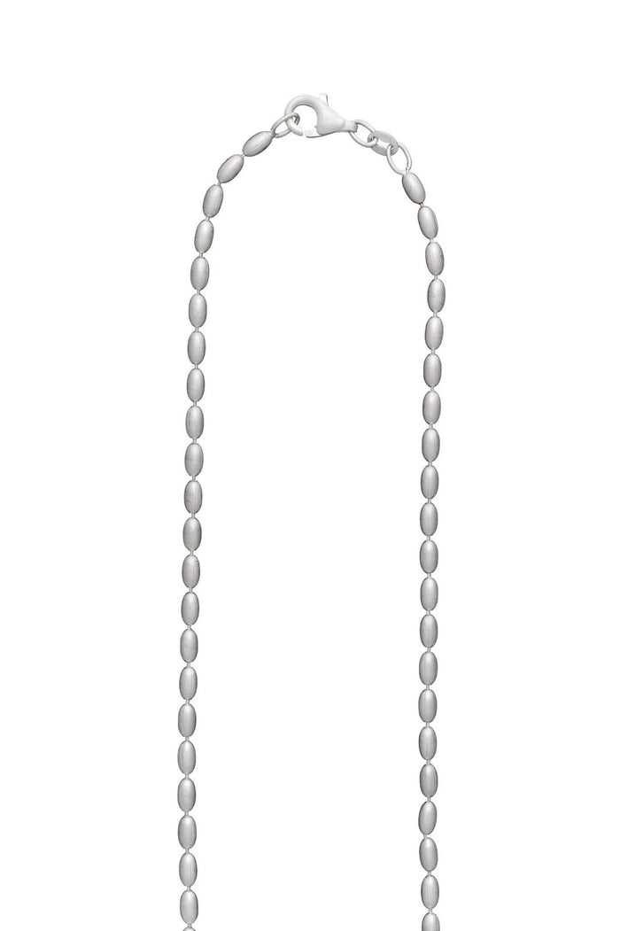 SILVER TINY RICE BEAD NECKLACE