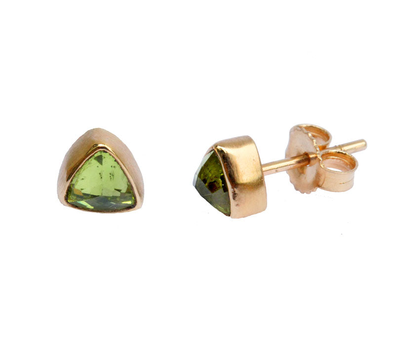 Peridot Trillion Cut Stud Earrings