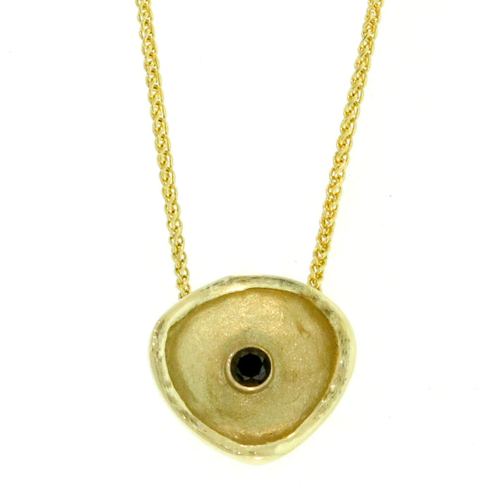 Gold  Confluence and Black Diamond Pendant