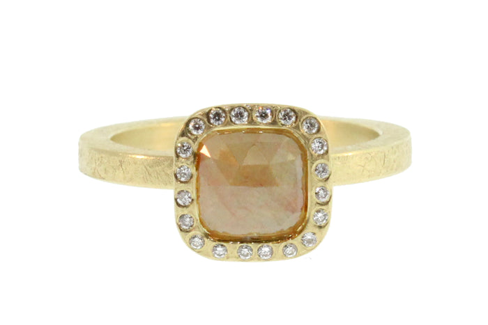 Peach Diamond Center Stone Ring