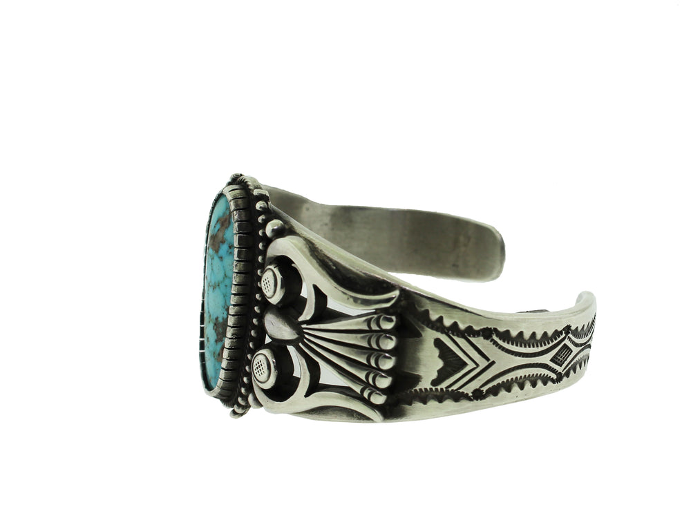 Sterling Silver Navajo Oval Turquoise Cuff