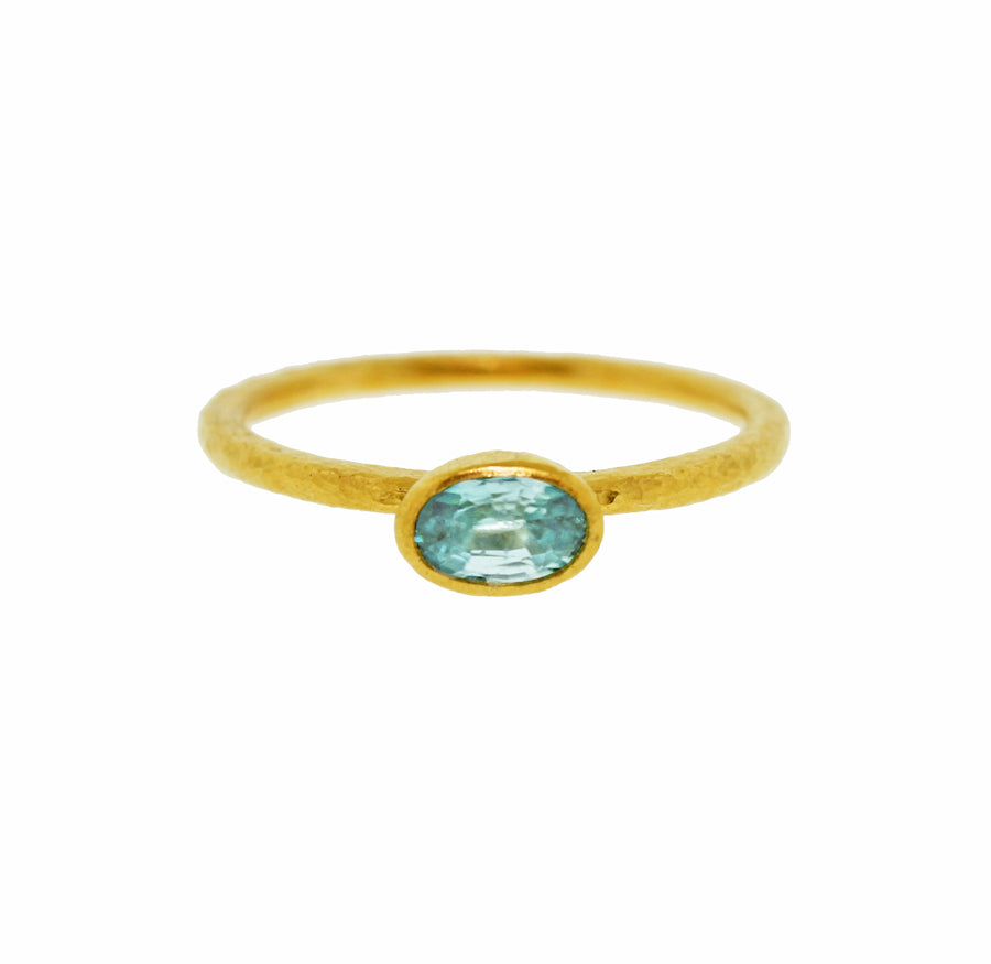 Blue Tourmaline Oval Stacking Ring