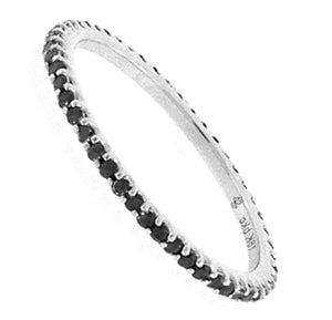Shared Prong Black Diamond Eternity Band