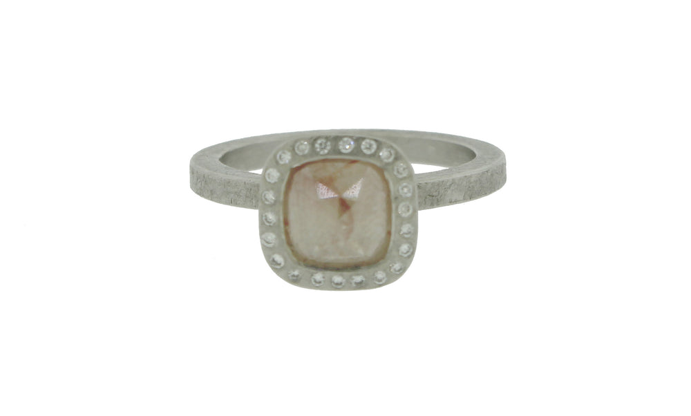 Grey Pink Square Center Diamond Ring