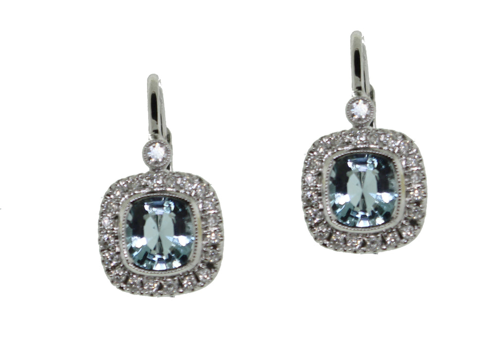 Cushion Shaped Aqua and Diamond Earring