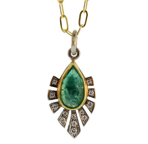 Emerald And Diamond Deco Pendant