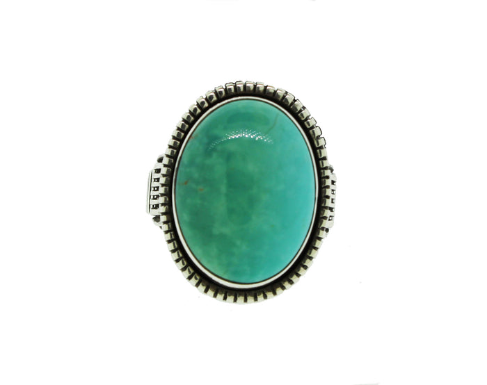 Sterling Silver Turquoise Ring With Striped Band