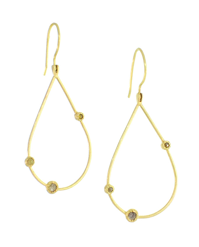 Gold Teardrop Earrings With Natural Color Diamonds