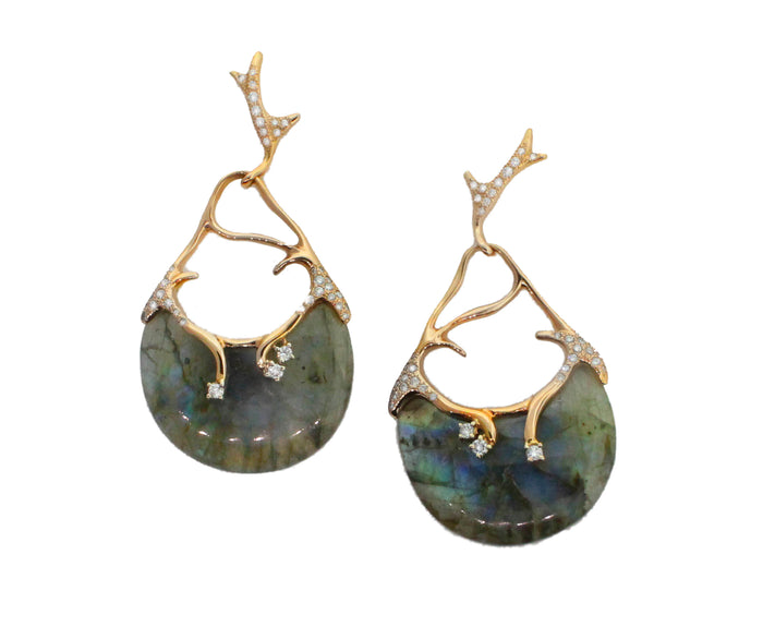 Coral Labradorite Earrings