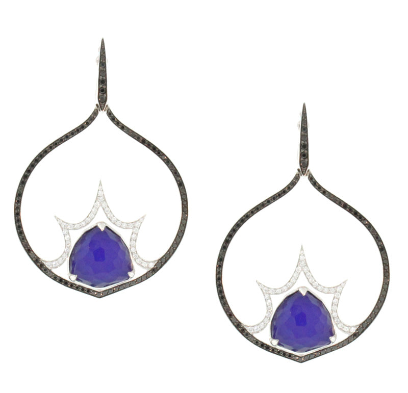 Lapis and Diamond Bang Earrings