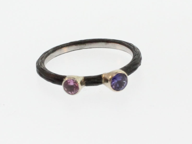 PINK AND PURPLE SAPPHIRE PEBBLE STACKING RING
