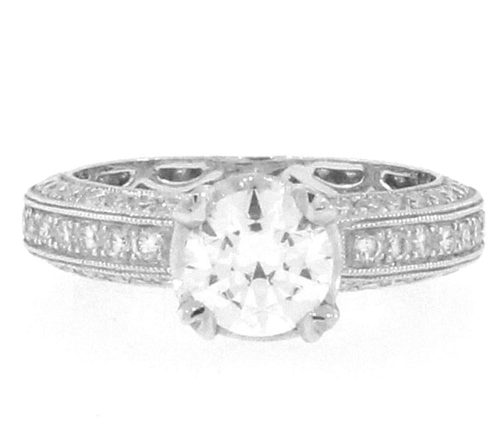 Beveled Edge Pave Diamond Ring Setting