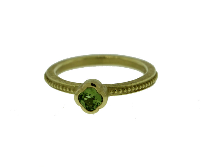Green Sapphire Lily Ring