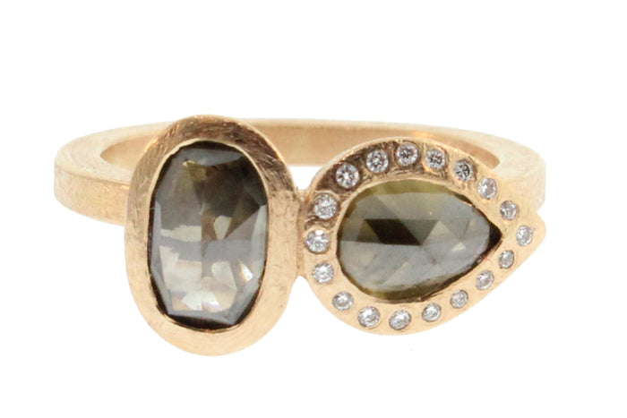 Two Stone Oval and Teardrop Natural Colored Diamond Ring