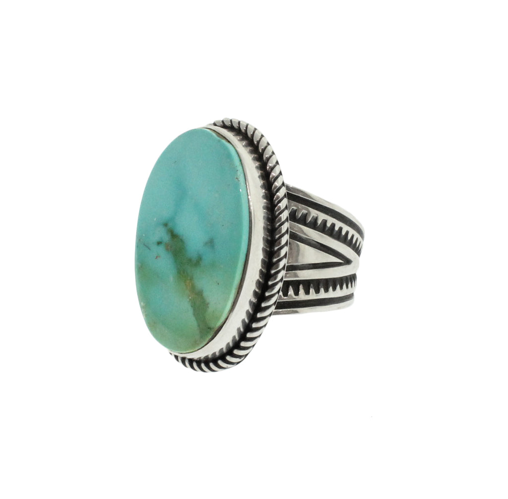 Turquoise Ring with Stamp and Rope Detail