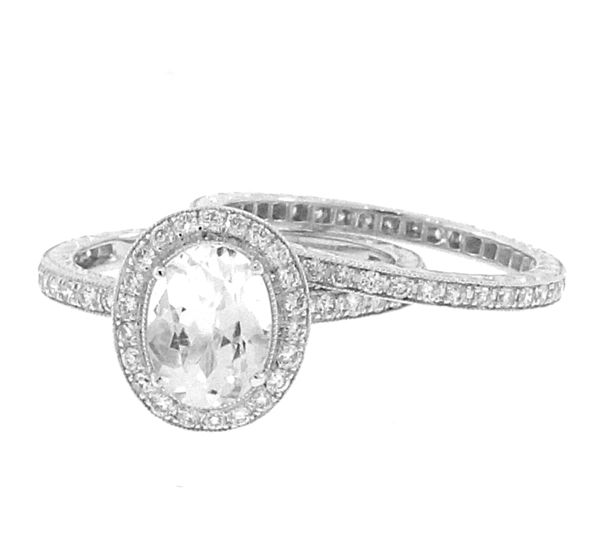 Oval Halo Wedding Set