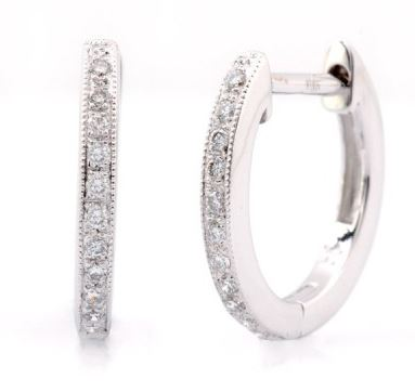 SMALL WHITE GOLD PAVE DIAMOND HOOPS