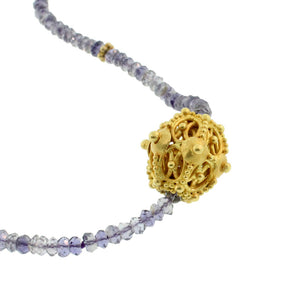 Iolite Necklace with Bali Bead