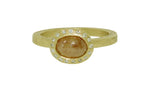 Yellow Orange Oval Center Diamond Ring