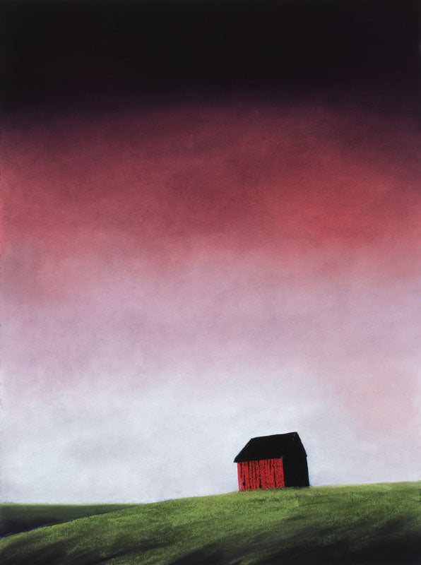 Barnscape With Cranberry Colored Sky