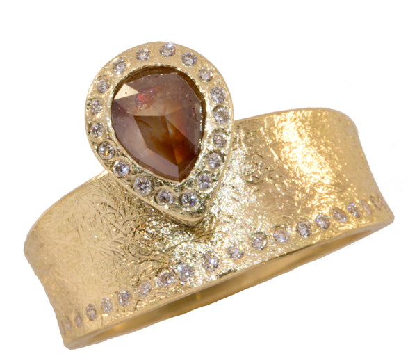 Off Set Red Diamond Center Stone Ring