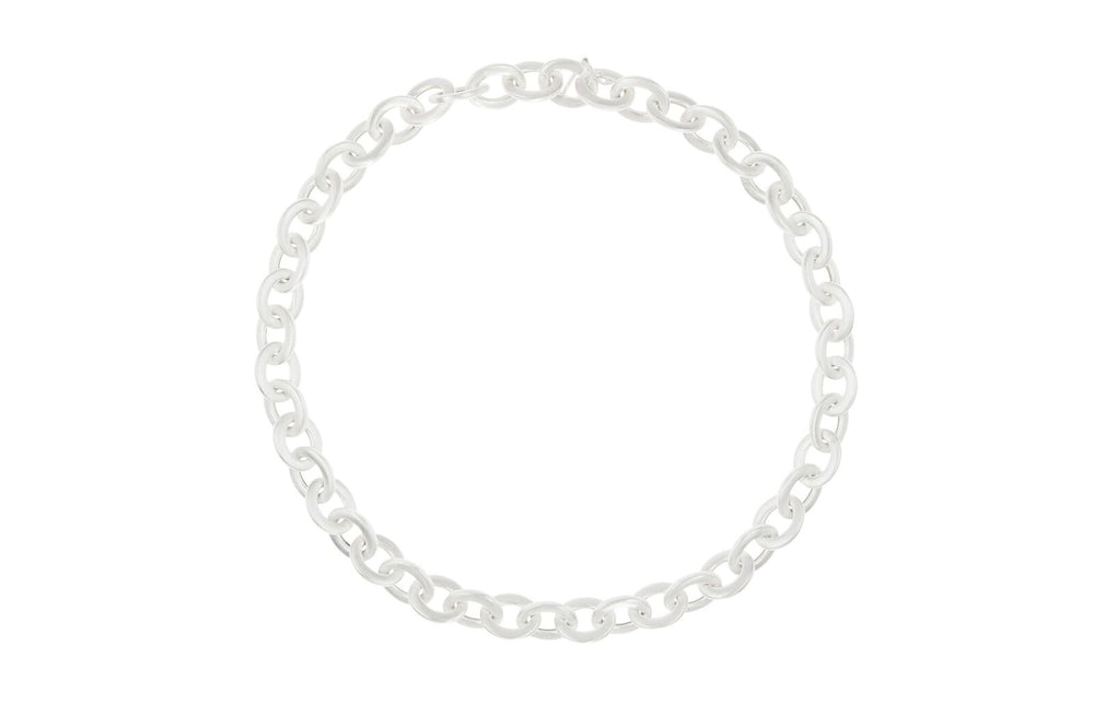 SILVER THICK OVAL LINK NECKLACE