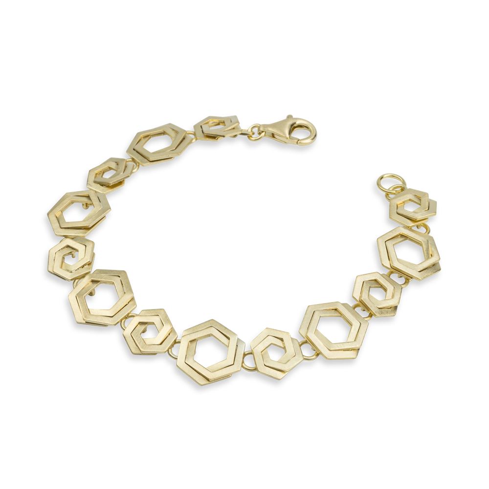 Bee Mine Hexagon Gold Link Bracelet