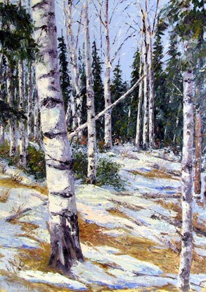 "Jeff Desautels, ""Aspen #4,"" Oil"