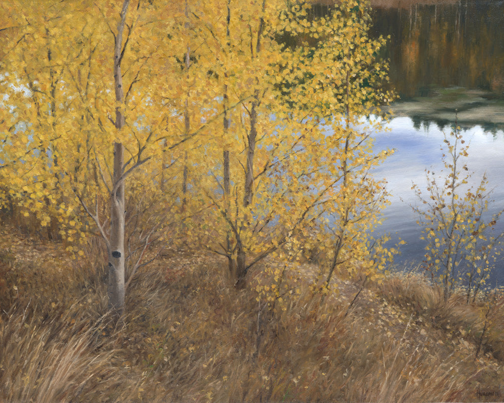 "Chris Hureau, ""Aspens by by the Lake,"" Oil"