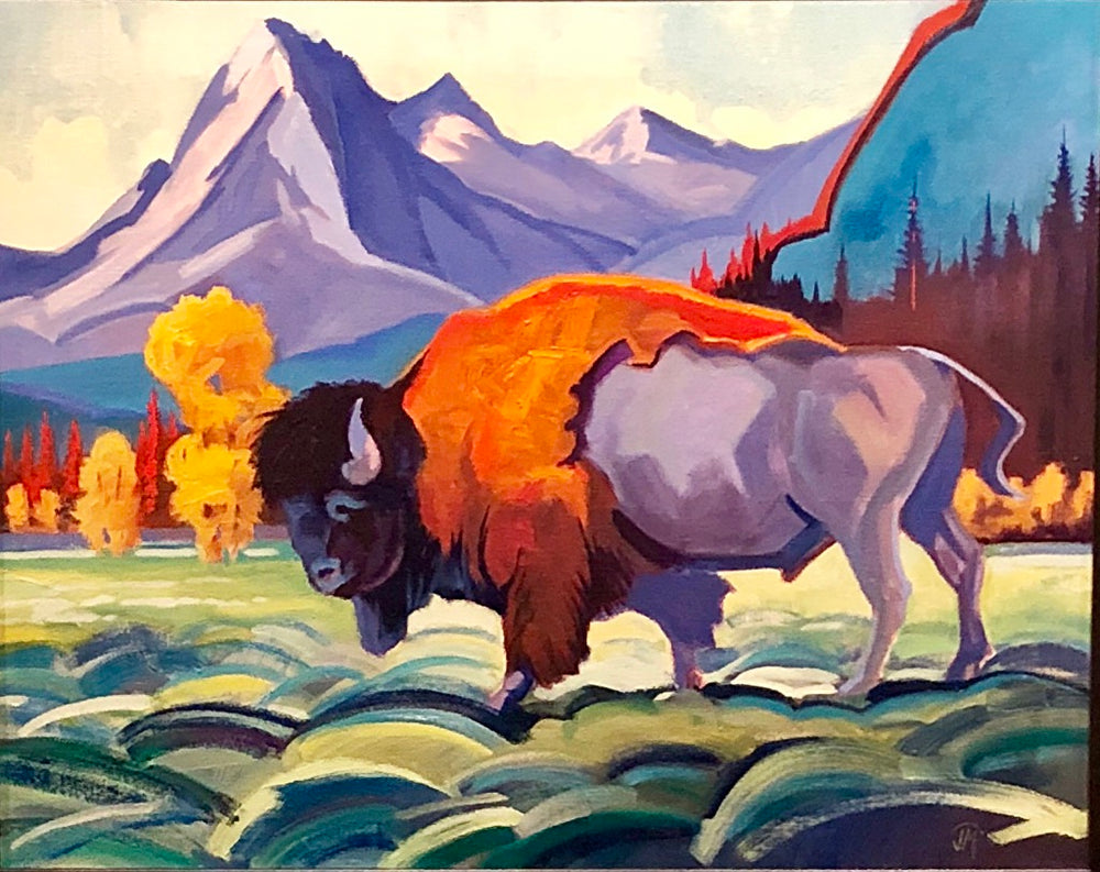 "J.R. Monks, ""Buck Mountain Bull,"" Oil"