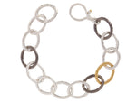Hoopla Tri Color Link Bracelet, 'kissed' with 24k Gold