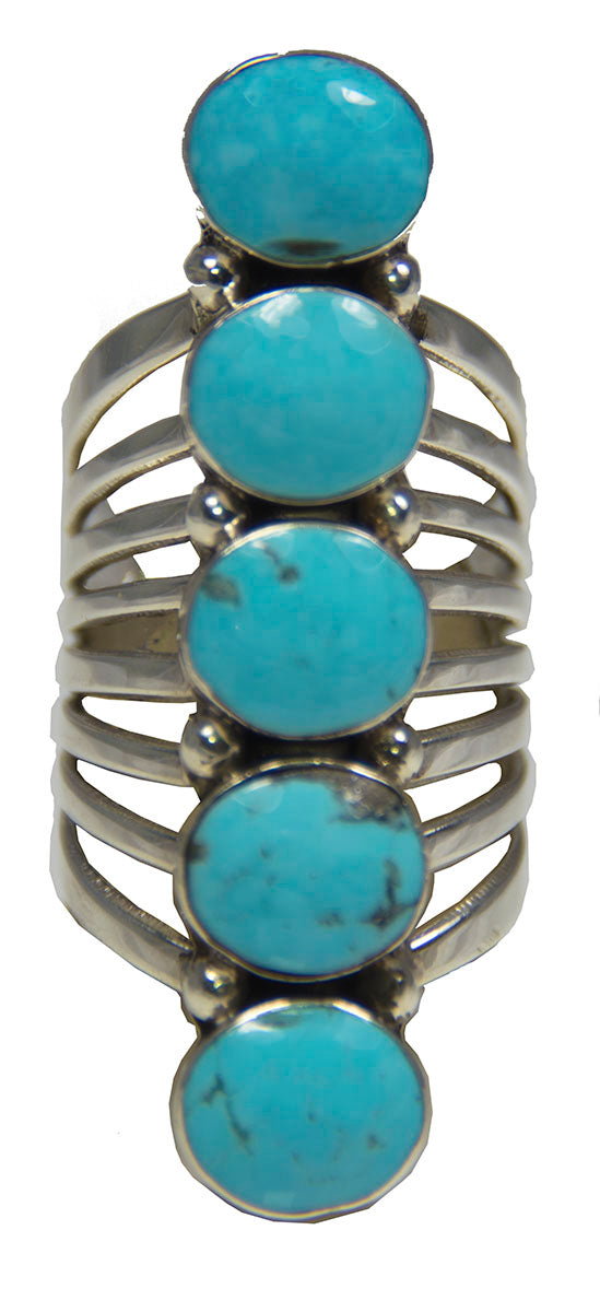 Blue Turquoise Five Stone Ring