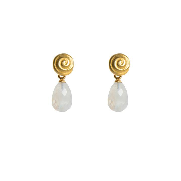 Rainbow Moonstone Snail Earrings