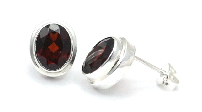 Padma Garnet Stud Earrings