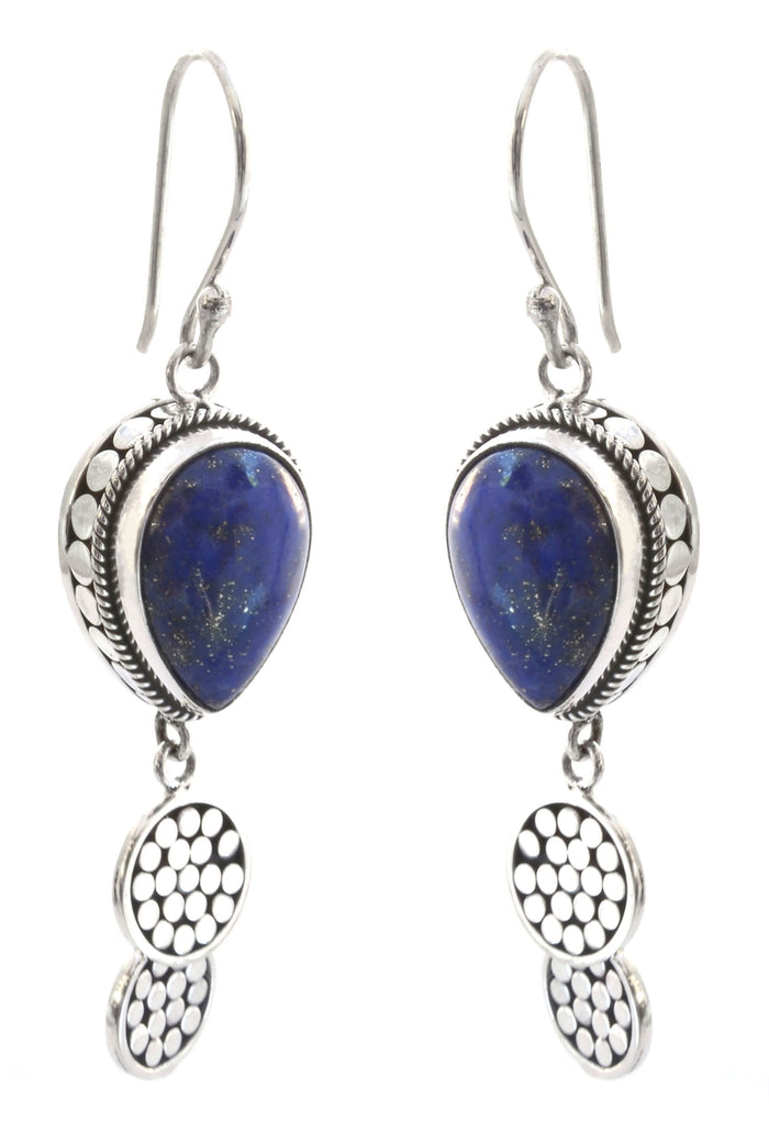 Pearl Lapis Drop Earrings
