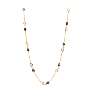 Sapphire and Rainbow Moonstone Necklace