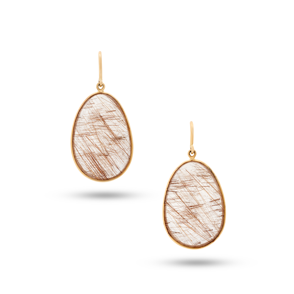 Copper Rutile Quartz Earrings