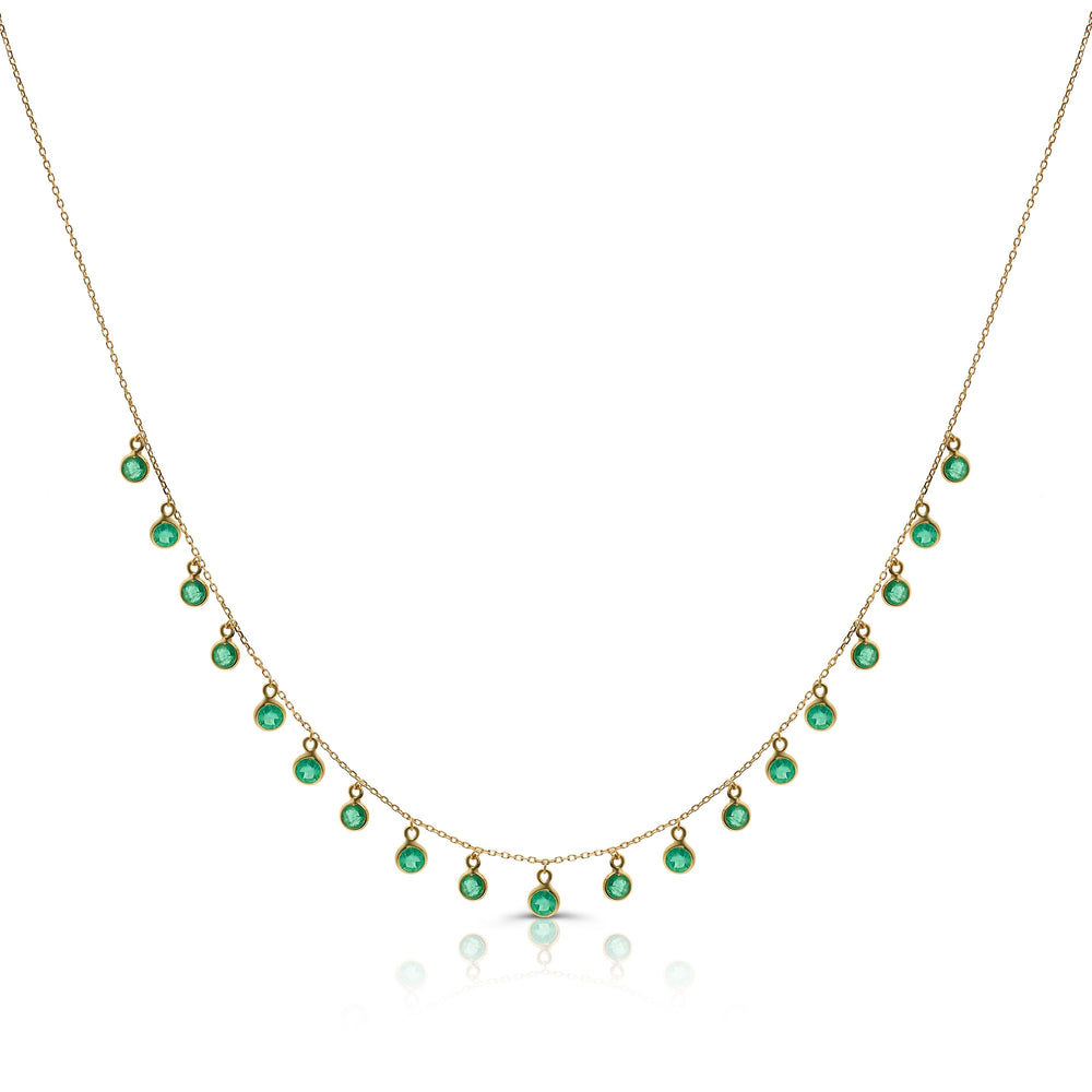 Round Emerald Dangle Necklace